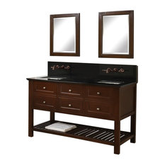 "Mission Spa 60"" Double Vanity, Black Granite Top, Without Mirror"