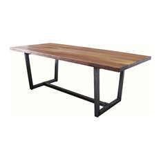Black Walnut Industrial Steel Trapezoid Table Deep Grey Finish 96-inchx42-inchx30-inch