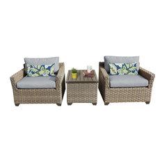 TKClassics - Hampton Outdoor Wicker 3-Piece Patio Set, Gray - Outdoor Lounge Sets