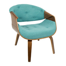LumiSource   Curvo Mid Century Modern Accent Chair, Walnut And Teal Fabric    Armchairs