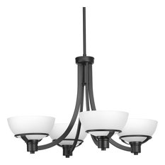 Domain 4-Light Chandelier, Black, Etched Glass