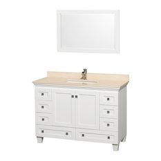 "Wyndham Collection - Single Bathroom Vanity Set, Countertop, White, Ivory Marble, 48"" - Bathroom Vanities and Sink Consoles"