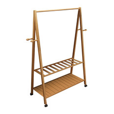 Contemporary 2-Tier Clothes Stand, Bamboo Wood With Caster Wheels, 4-Hook, 80 cm