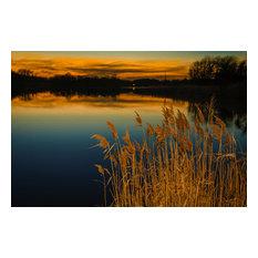 "Sunset at Reedy Point Rural Landscape Photo Unframed Wall Art Print, 24""x36"""