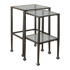 Coaster 2-Piece Glass and Metal Nesting Tables by Coaster Home Furnishings