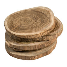Live Edge Teak Wood Coasters, Set of 6