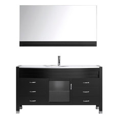 "Ava 61"" Single Vanity Cabinet Set, White Round, White Stone, Polished Chrome"