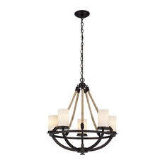 Modern Farmhouse 5 Light Chandelier in Aged Bronze Finish