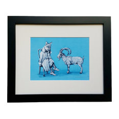 Ibex You Know- Animal Illustration Framed Art Print - Ibex Goat and Fox