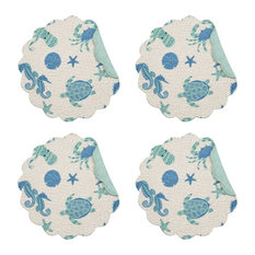 Seahorse Sea Turtle Crab Brisbane Round Placemat Set of 4 Kitchen or DiningRoom