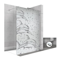Frameless Fixed Shower Glass Panel with Frosted Shark Design, Semi-Private, 33 1