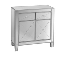 Elegant Mirrored Accent Cabinet, 2 Drawers and Doors With Faux Crystal Knobs