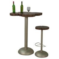 Live Edge Acacia Wood & Iron Bar Table & Bar Stool