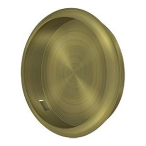 "FP221RU5 Flush Pull, Round, 2-1/8"" Diameter, Antique Brass"