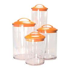 Calypso Basics 4-Piece Acrylic Canister Set, Orange
