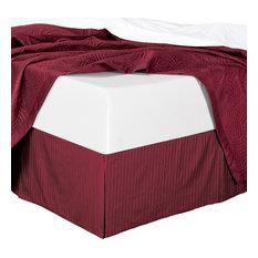 """Cotton Split Corners Stripe 14"""" Drop Bed Skirt, Burgundy, Queen"""