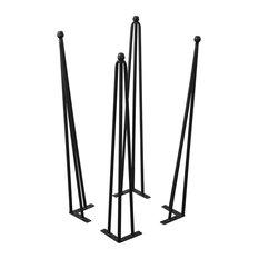 """Serenta Hairpin Metal Table Legs, 4-Piece Set, Black, 30"""""""