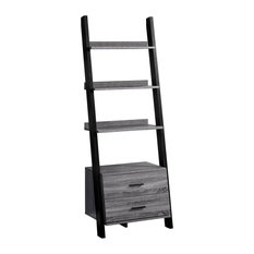 69-inch Particle Board Ladder Bookcase With 2-Storage Drawers Gray/Black