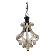 Ivory Bella Pendant Light, Wood and Metal