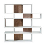 London Display Unit, Matt White and Walnut, Medium