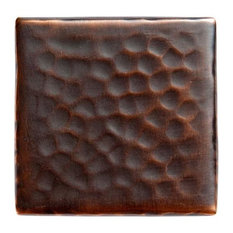 The Copper Factory Solid Hammered Copper 2 x2 Inch Accent Tile Copper