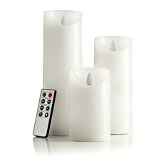 White Pillar Flameless Candles With Remote Control and Auto Timer, 3-Piece Set