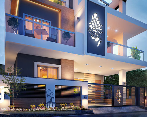 3D MODERN BUNGALOW EXTERIOR ELEVATION NIGHT RENDERING DUSK VIEW BY