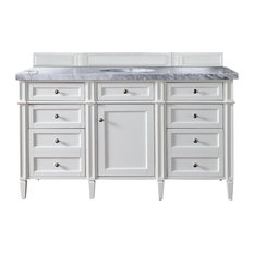 """Brittany 60"""" Cottage White Single Vanity w/ 4cm Carrara White Marble Top"""