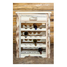 Montana Collection Wine Cabinet, Clear Lacquer Finish