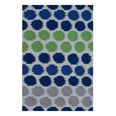 "Ikat Dot Blue Area Rug, Blue/Gray/Green, 2'8""x4'8"""