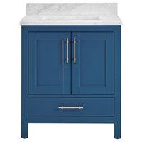 """Kendall Blue Bathroom Vanity, 36"""", Vanity With Carrara Marble Top"""