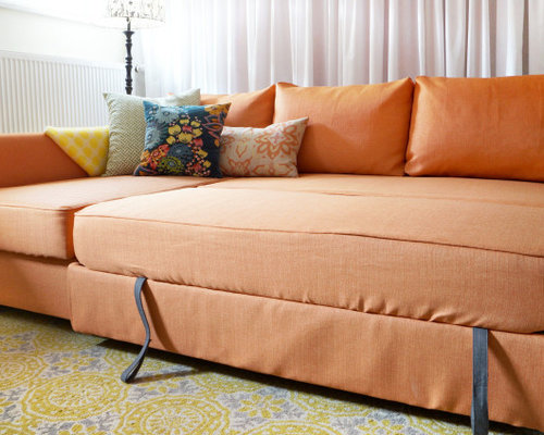 Friheten Snug Fit Slipcovers In Kino Orange Fabrics