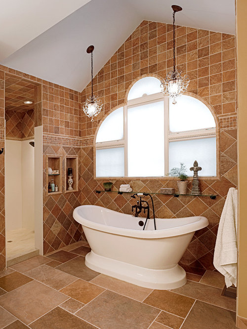 Traditional bathroom design ideas remodels photos with for Terracotta bathroom ideas