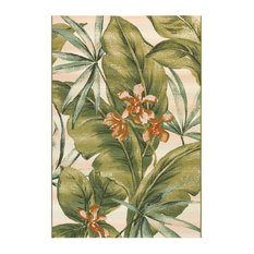 "Liora Manne Marina Tropical Leaf Indoor/Outdoor Rug, Cream, 7'10""x9'10"""