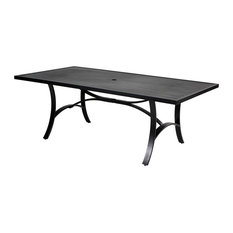 Slat Top Aluminum Patio Dining Table with Umbrella Hole- Black