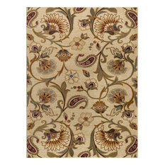 Fairfield Transitional Floral Beige Rectangle Area Rug, 8' x 10'