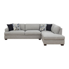 Emerald Home - Emerald Home Vernon 2-Piece Sectional With 4 Pillows, Cloud Gray - Sectional Sofas