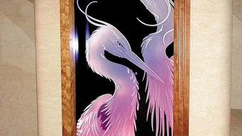 Carved Glass Herons