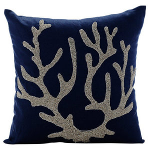 Sea Weed At the Shore, 50x50 Cotton Linen Navy Blue Throw Cushions Cover Couch