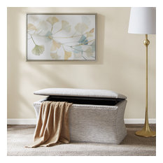 Madison Park Upholstered Storage Accent Bench with Nail Accents, Grey