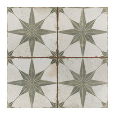 """SomerTile 17.63""""x17.63"""" Kings Star Ceramic Floor and Wall Tile, Case of 5, Sage"""