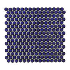 "12""x12.63"" Penny Porcelain Mosaic Tiles, Set of 10, Deep Ocean Blue"