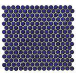 "SomerTile - 12""x12.63"" Penny Porcelain Mosaic Tiles, Set of 10, Blue Eye - Pieces Per Case: 10"