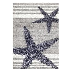 "Nautical Starfish And Stripes, Gray, 7'6""x9'6"""