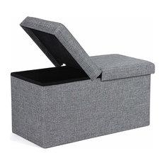 Folding Ottoman Storage Bench Upholstered, Grey Linen Fabric on MDF Panels