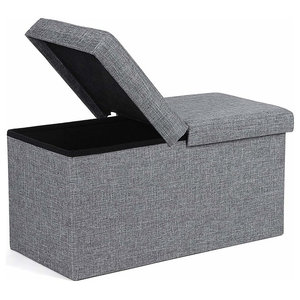 Folding Ottoman Storage Bench Upholstered, Grey Linen Fabric on MDF Panels