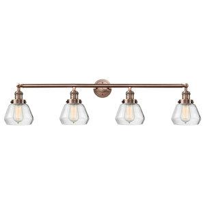 Fulton 4-Light LED Bath Fixture, Antique Copper, Glass: Clear