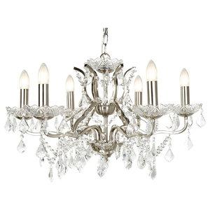 Paris 6-Light Chandelier, Clear Crystal Drop, Satin Silver