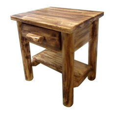 Northern Torched Cedar Log Nightstand 1 Drawer With Shelf