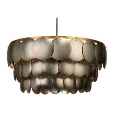 Calypso 3 Tier Chandelier, Champagne Metal Leafing With Gold Leaf Trim